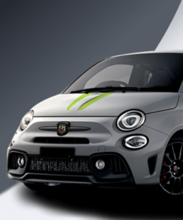 Abarth 500 Tributo stripes in adrenaline green