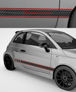 Exclusive side stripes for Abarth 595 in 2 colours